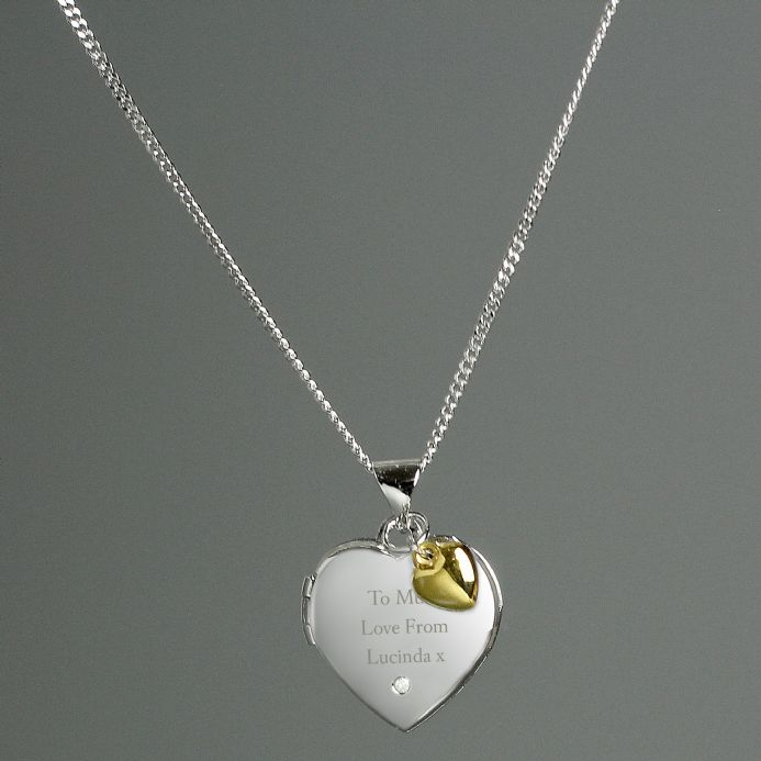 Personalised Sterling Silver Heart Locket Necklace with Diamond and 9ct Gold Charm | Personalised gifts for her - The Present Season